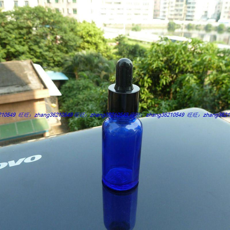 20ml 파란색 유리 에센셜 오일 병 알루미늄 반짝 이는 검은 점 적기 모자. 오일 바이알, 에센셜 오일 용기