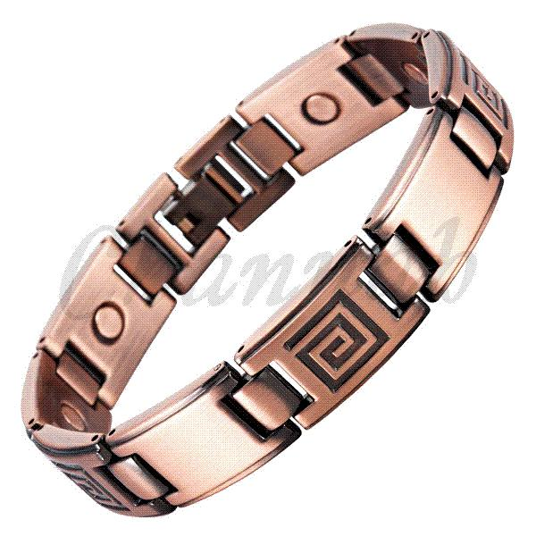 2015 Magnetic Men Bracelet Antique Copper Plating Free Shipping Bio Bangle Male Gentlemen Geometric Pattern via Hong Kong Post
