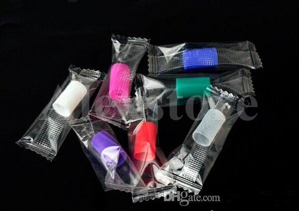 Boquilla de silicona cubierta punta de goteo de silicona desechable colorida punta de prueba de caucho tapa individualmente paquete para CE4 Clearomizer E cigarrillo DHL