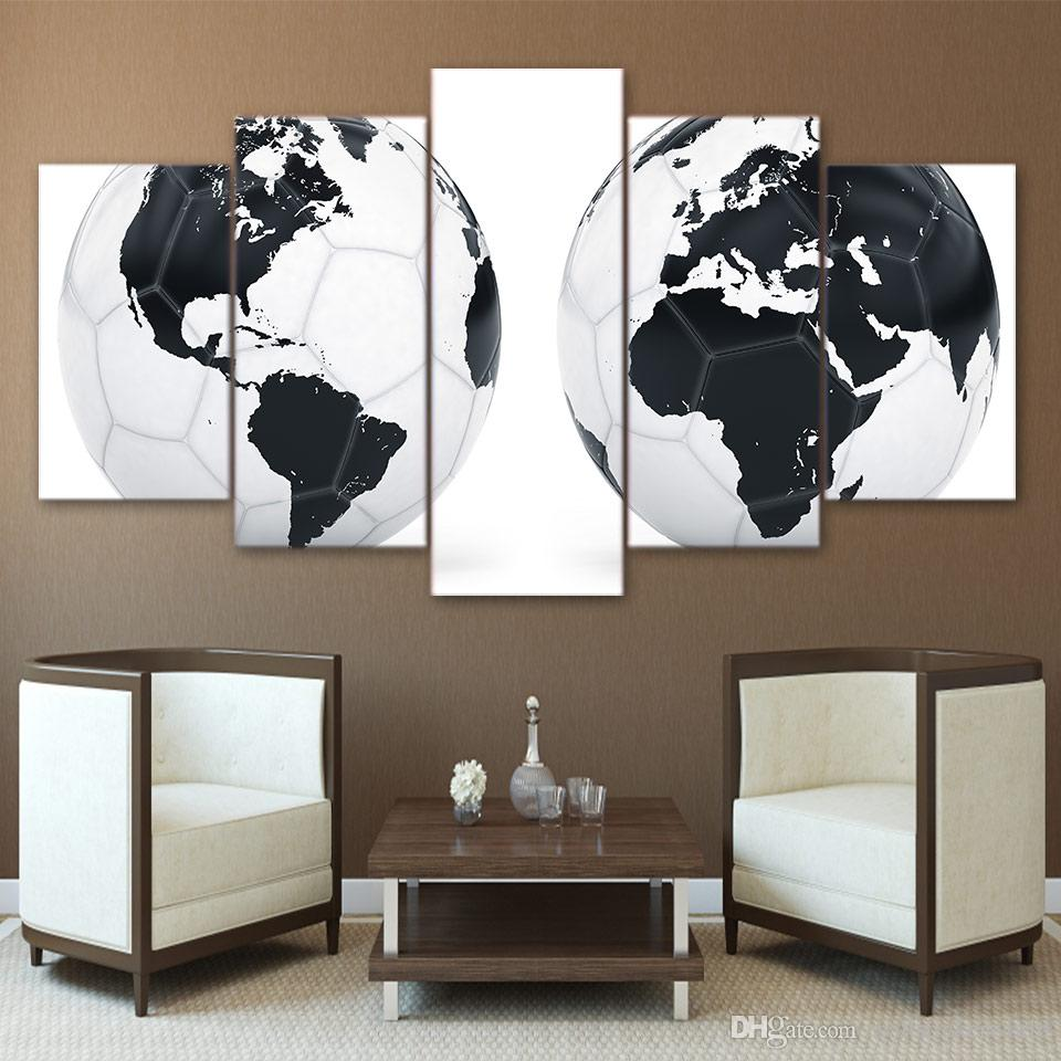 5 Pcs/Set Black White Football World Map HD Printed Picture Wall Art Canvas Print Room Decor Poster Framed Canvas Painting