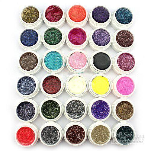Hong Kong Post Mail Freeshipping-30 Colors Glitter Powder UV Gel for UV Nail Art Tips Extension Deco