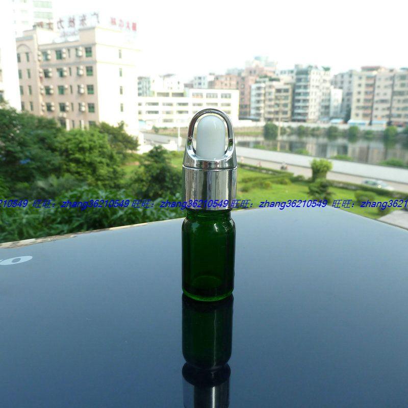 5ml 녹색 유리 에센셜 오일 병 반짝이 은색 스포이드 캡 알루미늄 바구니. 오일 바이알, 에센셜 오일 용기