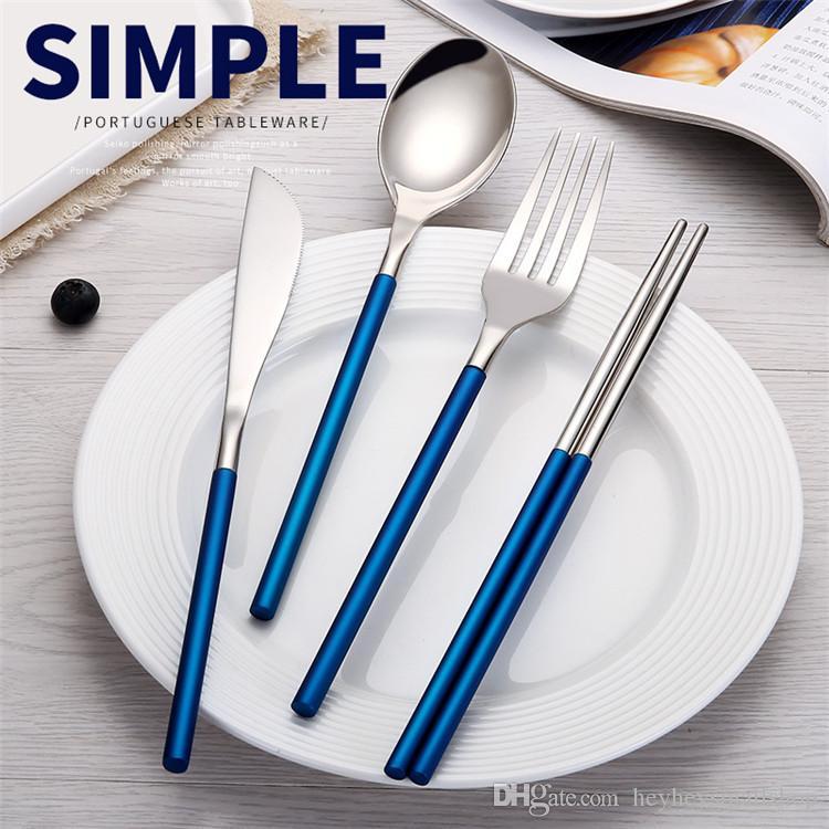 2021 2018 Cool 304 Stainless Steel Chopsticks Spoon Fork Knife Silver And Blue Tableware Cutlery Flatware Dinnerware From Heyheysmallshop 2 34 Dhgate Com