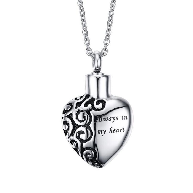 항상 내 마음 속에 펜던트 기념품 인 Urn Necklace in Stainless Steel Cremation Ash Holder