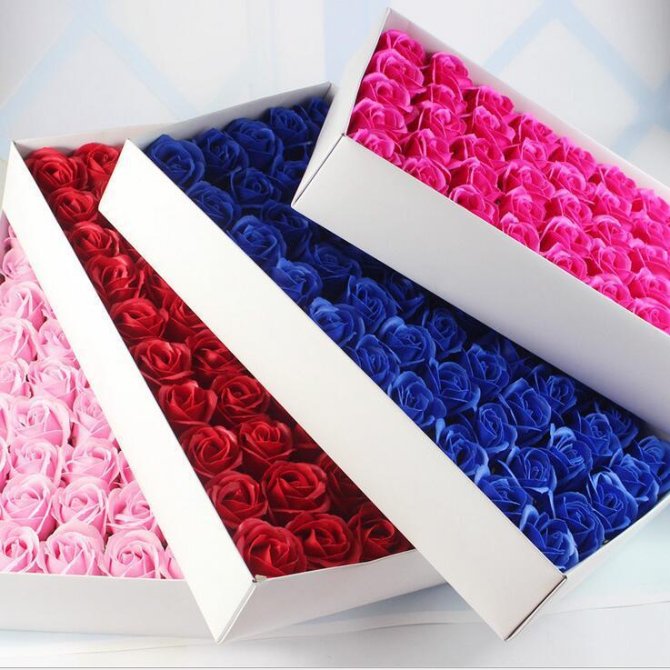 Gül Sabunlar Çiçek Paketlenmiş Düğün Malzemeleri Hediyeler Olay Parti Ürünleri Favor Tuvalet sabunu Kokulu sahte gül sabunu banyo aksesuarları SR002
