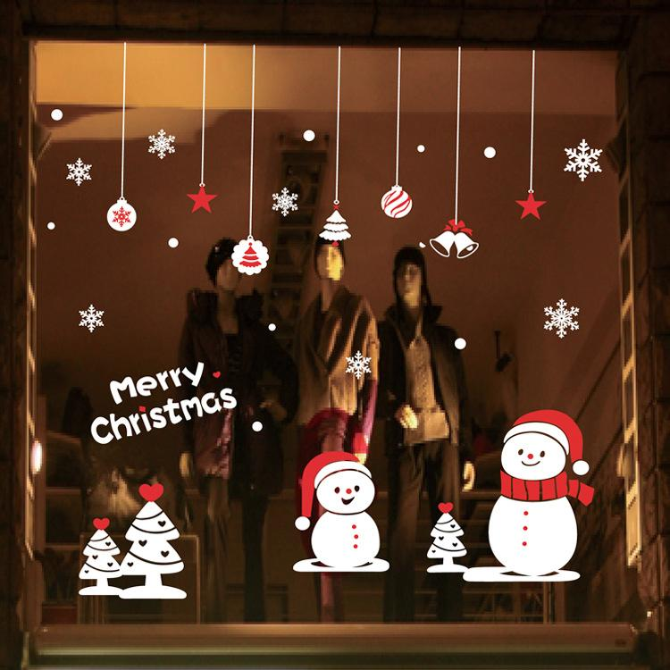 Christmas New Year Deer Wall Stickers Shop Window Decorative Glass Door Sticker Decorations Props Removable Customized