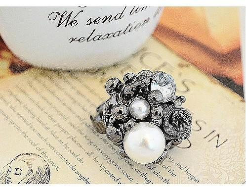 Min.order è $ 15 (ordine della miscela) -Korean Jewelry Wholesale Pearl Rose Anello aperto Anello Factory Direct-HL15104