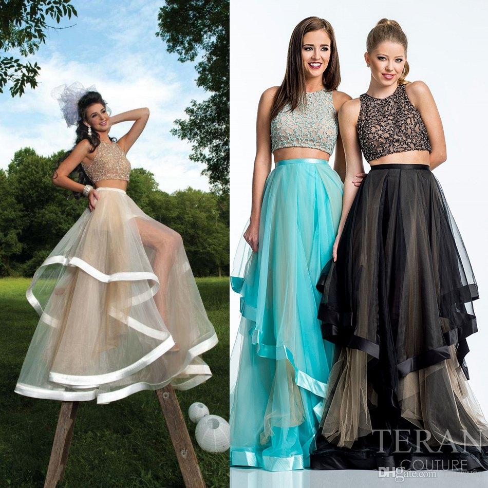 Shining 2 Pieces Beaded Long Prom Dresses 2015 New Sheer Crew Neck ...