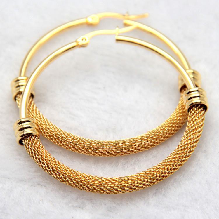 Mai sbiadire regalo stile fine per le donne GoldSilver acciaio inossidabile chirurgico Twist wire Round Hoop Ciondola gli orecchini Brand New