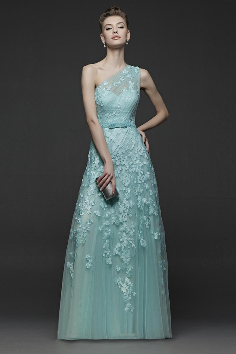 Charming One Shoulder Long Evening Dresses Appliqued Belt Backless ...