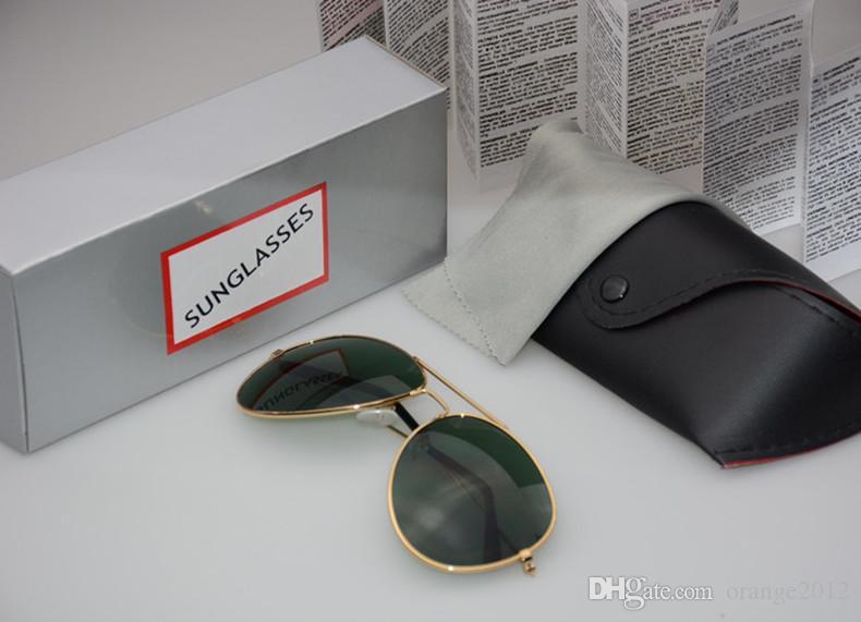 고품질 편광 렌즈 조종사 남자와 여자를위한 패션 선글라스 브랜드 디자이너 빈티지 스포츠 태양 안경 케이스와 박스