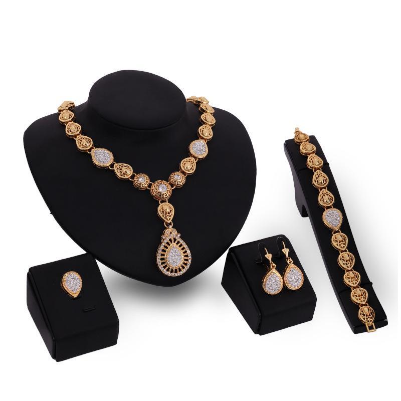 XSSP02 Top Exquisite Dubai Gold-color Crystal Wedding Donna Accessori da sposa Gioielli di moda per la progettazione del cliente all'ingrosso