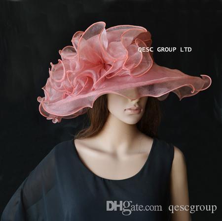 Sombrero de organza Heather Crystal con adorno de organza grande para party.brim ancho 13.5cm.FREE SHIPPING