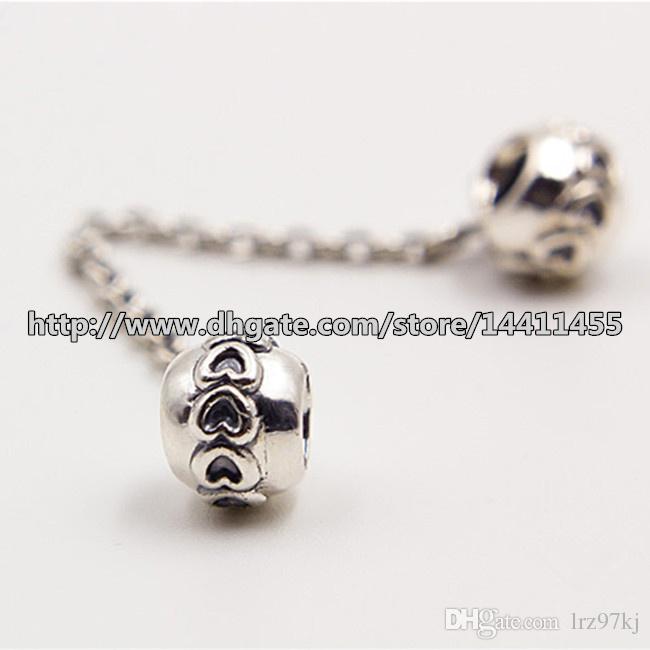 S925 Sterling Silver Chaîne De Sécurité Cœurs Charme Perle Adapte Pandora Européenne Bijoux Bracelets Colliers Pendentifs