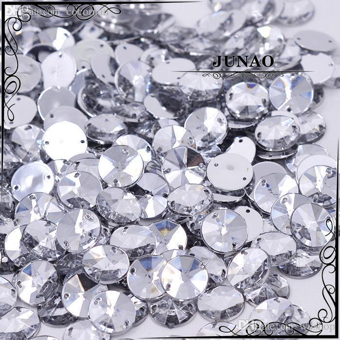 Großhandels-10mm freier Kristall Rivoli Rhinestone nähen auf Flatback Acryledelstein-runden Strass-Kristallsteinen für Kleidungs-Kleid-Dekorationen