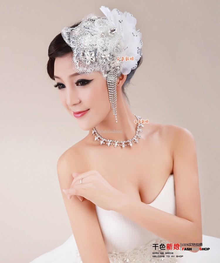 Crystal Lace Flower Wedding Church Hat Fascinator With Brooch Hair Clip White Beaded Tiaras Hair Accessories