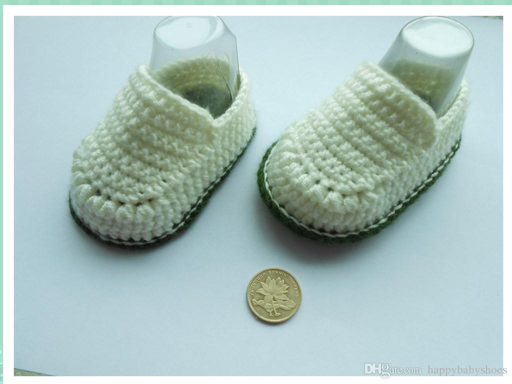 Hot Sale Boy Crochet baby ballet shoes handmade infant booties toddler shoes 0-12M cotton 10pcs/lot custom
