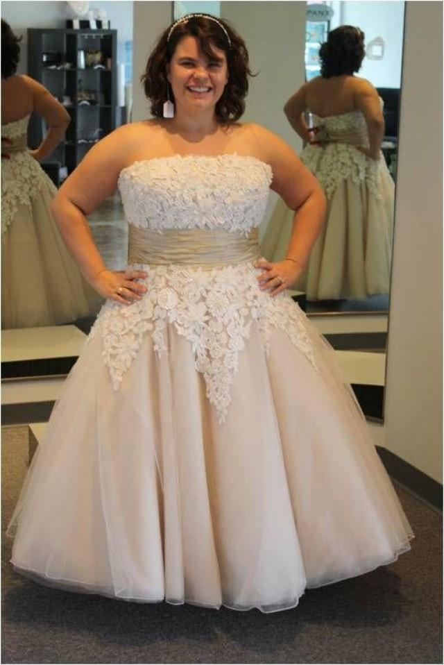 2015 Lace Appliqued Plus Size Wedding Dresses A Line Ankle Length Bridal Dresses Champagne Custom Made Wedding Gowns