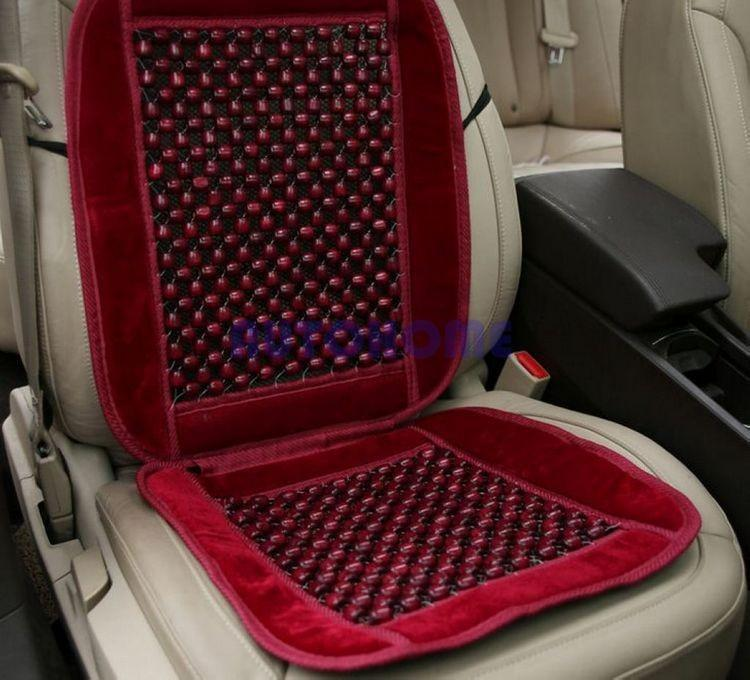 Natural Wood Bead Seat Cushion Auto Car Home Chair Cover Tan Beaded Seat Cover (2)