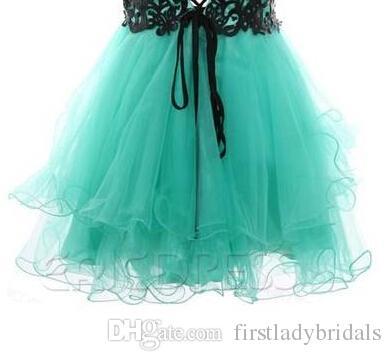2015 Short Prom Dresses Vintage Mint Green Tulle Appliques Black ...