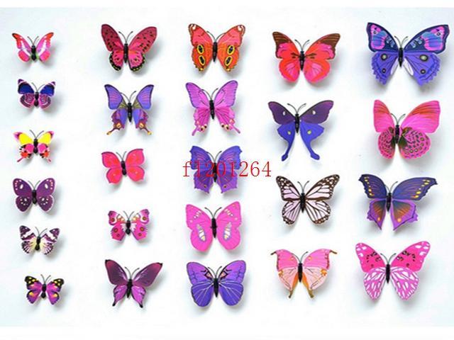 6000pcs (= 500sets) شحن مجاني 12pcs / set 3D الفراشات ملصقات الحائط ملصقات الديكور 3D فراشة البلاستيكية القابلة للإزالة