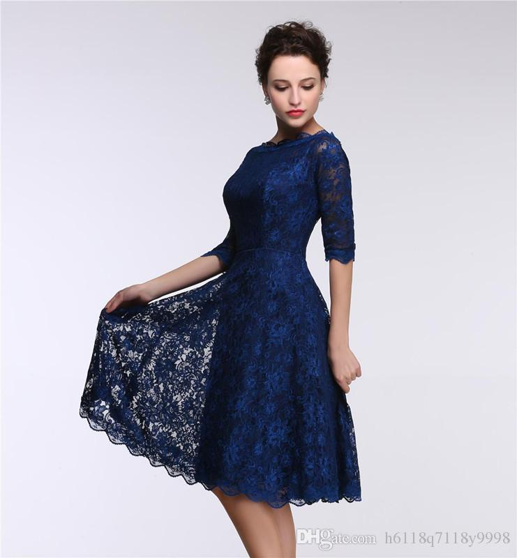 Cheap Lace Royal Blue Evening Dresses Knee Length Real Model Show ...