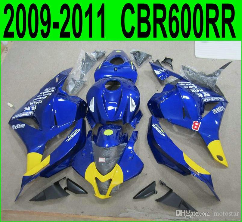 New !plastic fairings for Honda Injection molding CBR600RR 09-11 fairing kit CBR 600 RR 2009 2010 2011 yellow blue black motobike set YR75