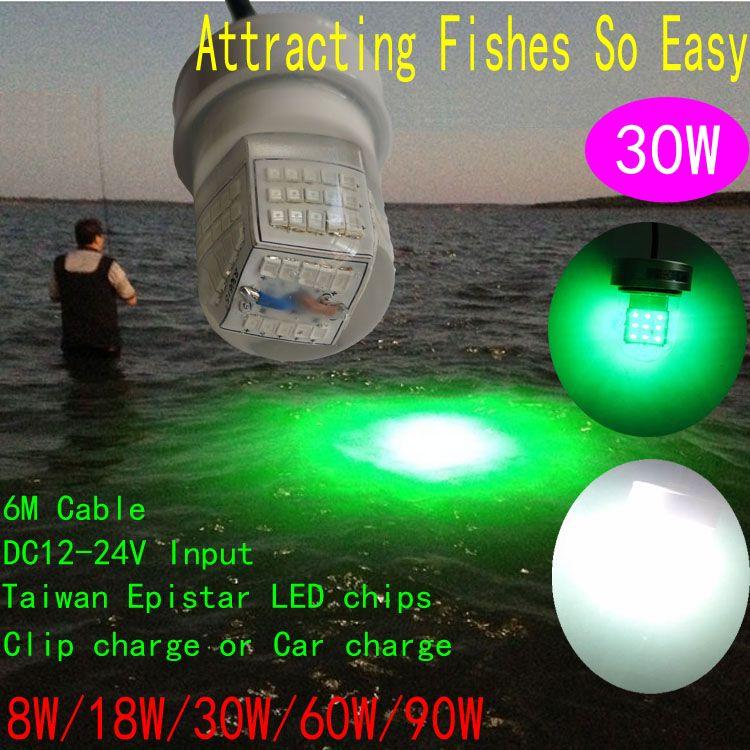 Green Submarine Submersible 30W LED Lights Night Fishing Bait Fish LED Lure Minnow Fishing Lure