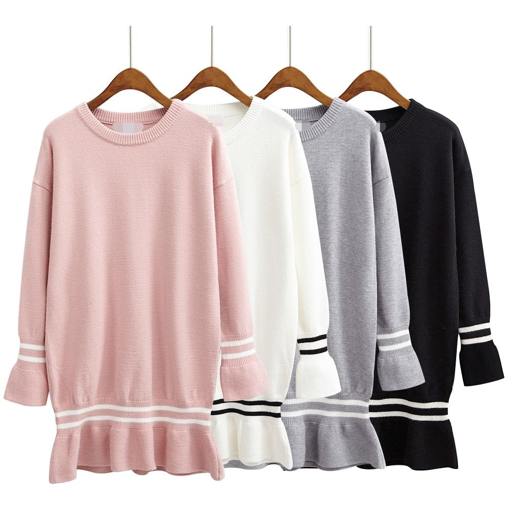 Atacado- inverno harajuku mulheres blusas 2017 koreano preto kawaii oversized rosa retro listrado fishtail outono natal camisola mulheres