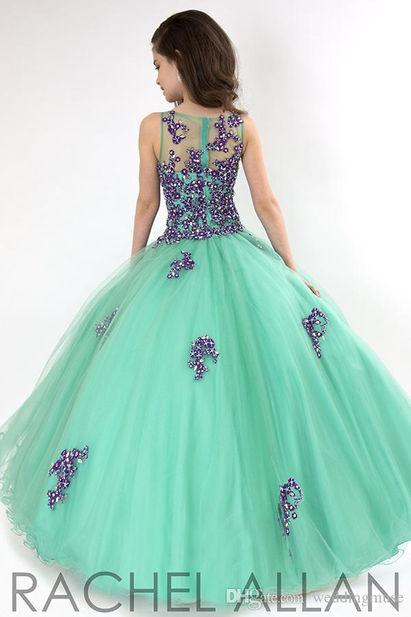 Fashion 2015 Cute Little Girls Pageant Dresses Ball Gown Beads Purple And Jade Green Lace Tulle