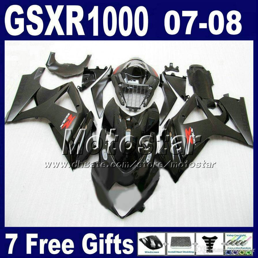 Darmowa wysyłka Zestaw wentylatorski dla 07 08 GSXR 1000 SUZUKI GSXR1000 2007 GSX-R1000 2008 Wszystkie czarne wróżki nadwozia K7 FD23 + SEAT Cowl