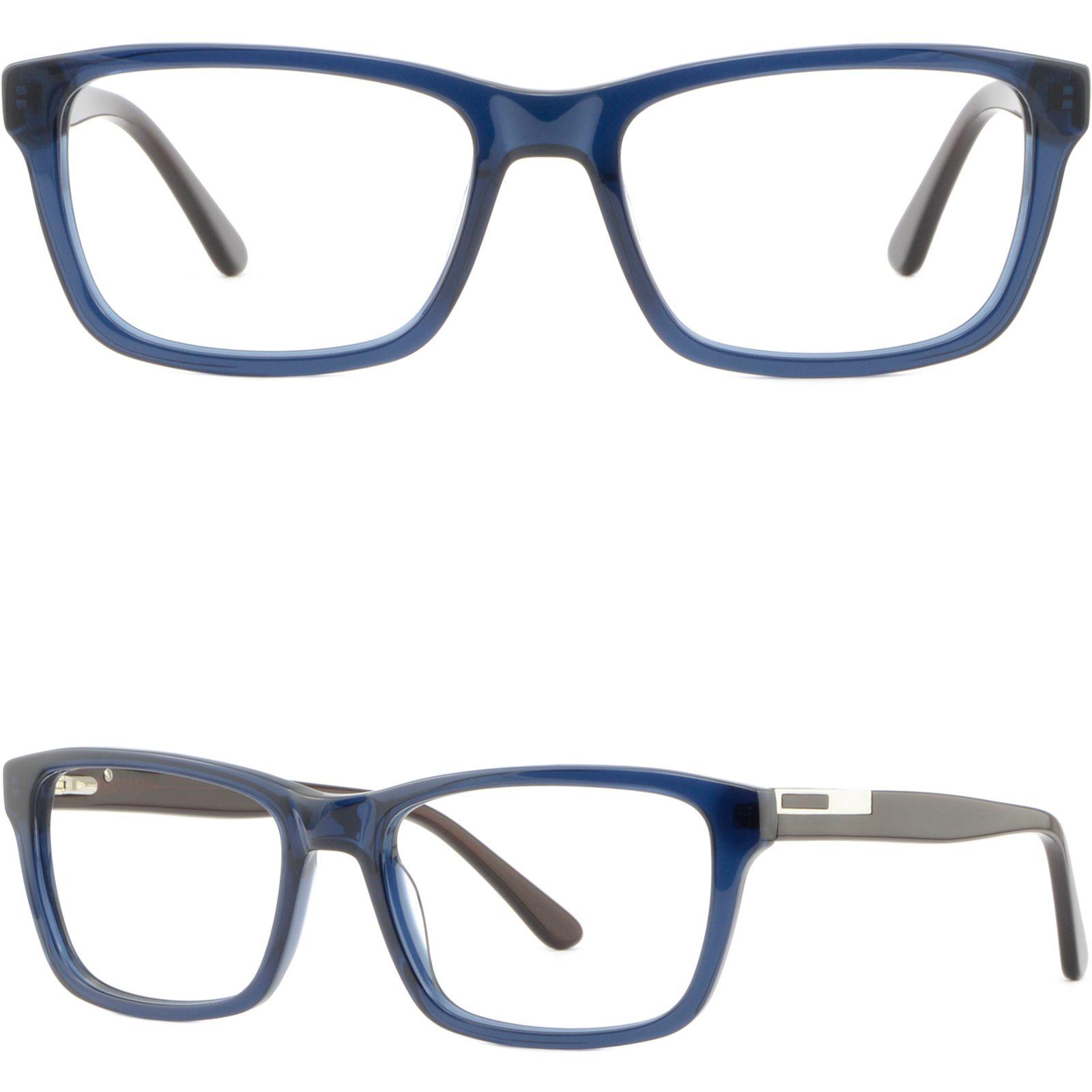 Marineblau Mens Womens Kunststoffrahmen Frühling Scharniere Rectangle Prescription Glasses