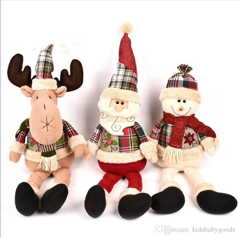 25-49cm Multi Styles Stretchable Santa Claus Snowman Reindeer Doll Christmas Tree Hanging Decoration Plush Toy free shipping