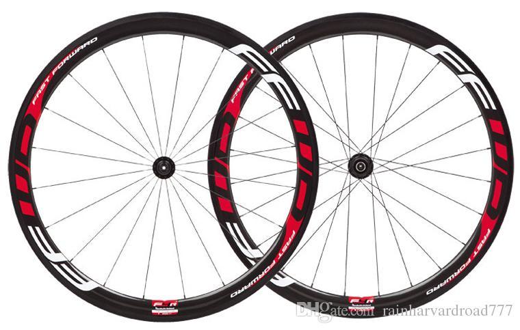 흰색 빨간색 FFWD F4R 자전거 탄소 바퀴 38mm 관형 / clincher 700C 도로 자전거 전체 탄소 wheelset, 빠른 앞으로 자전거 탄소 바퀴