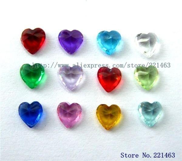 60PCS Accessoires de bricolage 5 * 5mm Mélange de couleurs coeur Birthstone Charmes Flottantes Pour Verre Vivant Médaillon Livraison gratuite