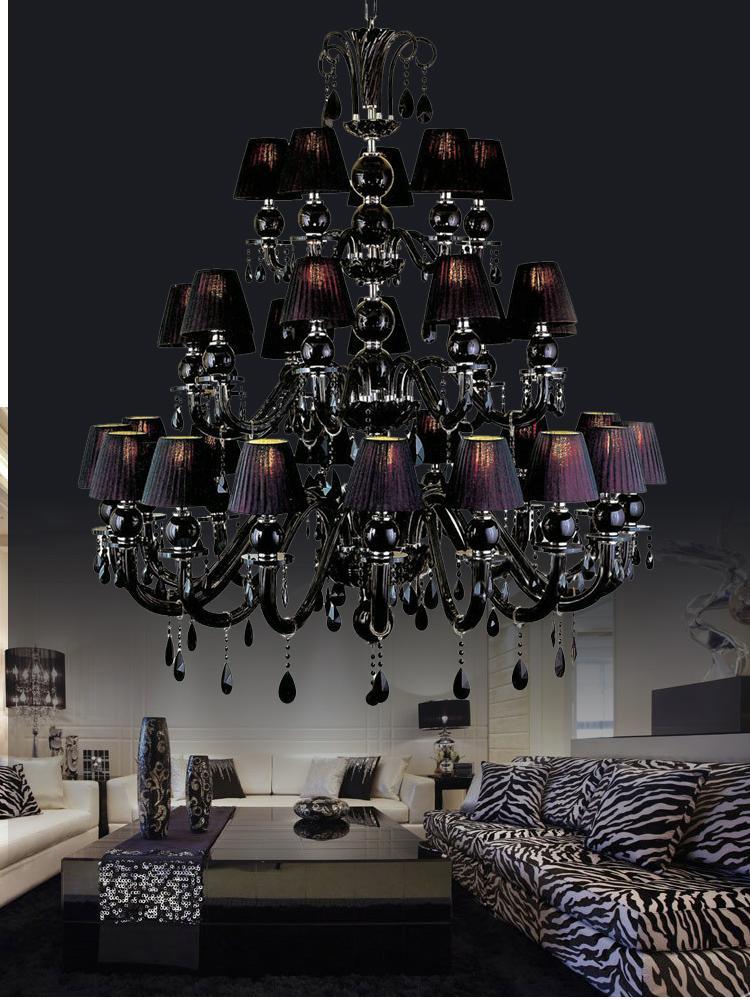 Led 3-layer 30 light black crystal chandelier Led Kroonluchter vintage chandelier Crystal lamp Traditional candle holder lights + lampshades