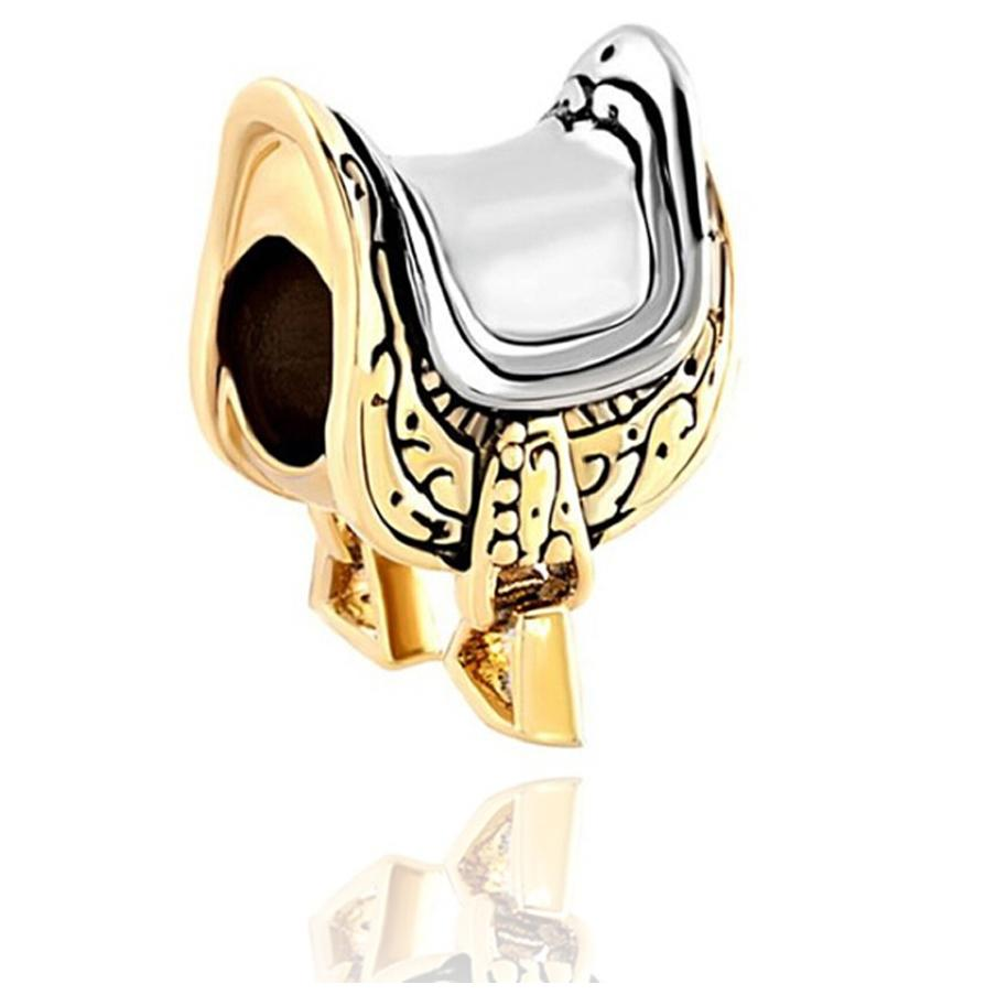 Ouro e Ródio Chapeamento Equestre Amantes Equestres Sela Talão Preto Europeu Esmalte Charme Fit Pandora Pulseira