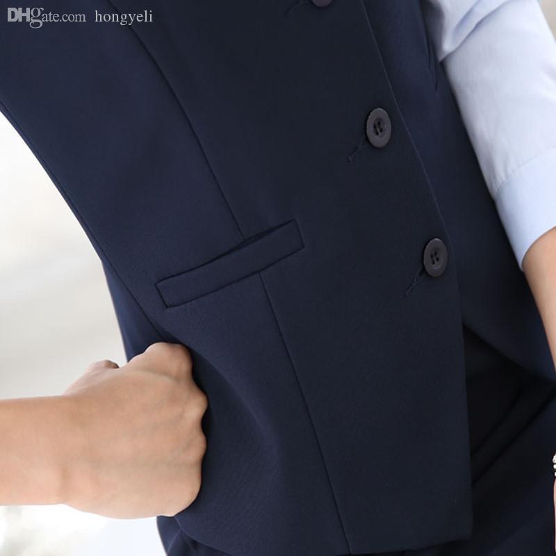 Wholesale-Women Suit Vest 2016 Nuove donne di moda vestito solido gilet donna affari formale giacche giacche ufficio lady work suit maglia 3xl