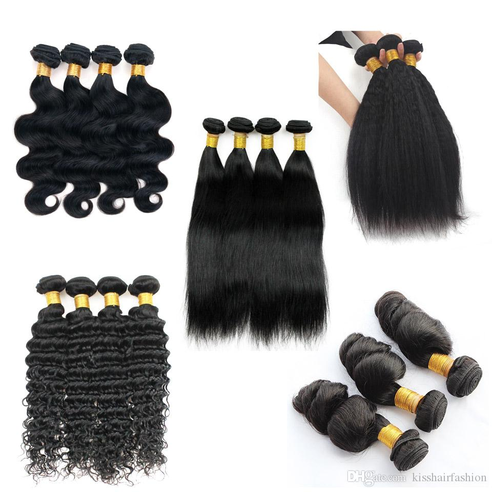 Brasiliano Virgin Hair Body Wave 4 Bundles 10-26 pollici Remy Human Hair Haite Weave Straight Shoes Deep Jerry Curly Kinky Dritto Estensioni dei capelli lisci