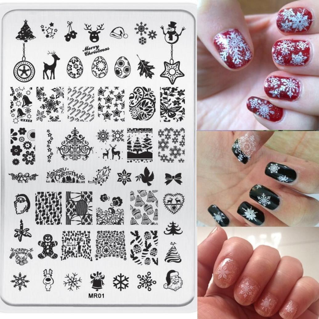 3pcs New Stainless Steel Rectangle Manicure Template Nail Art Printing Polish Stamp Image Plate Christmas Elements Pattern