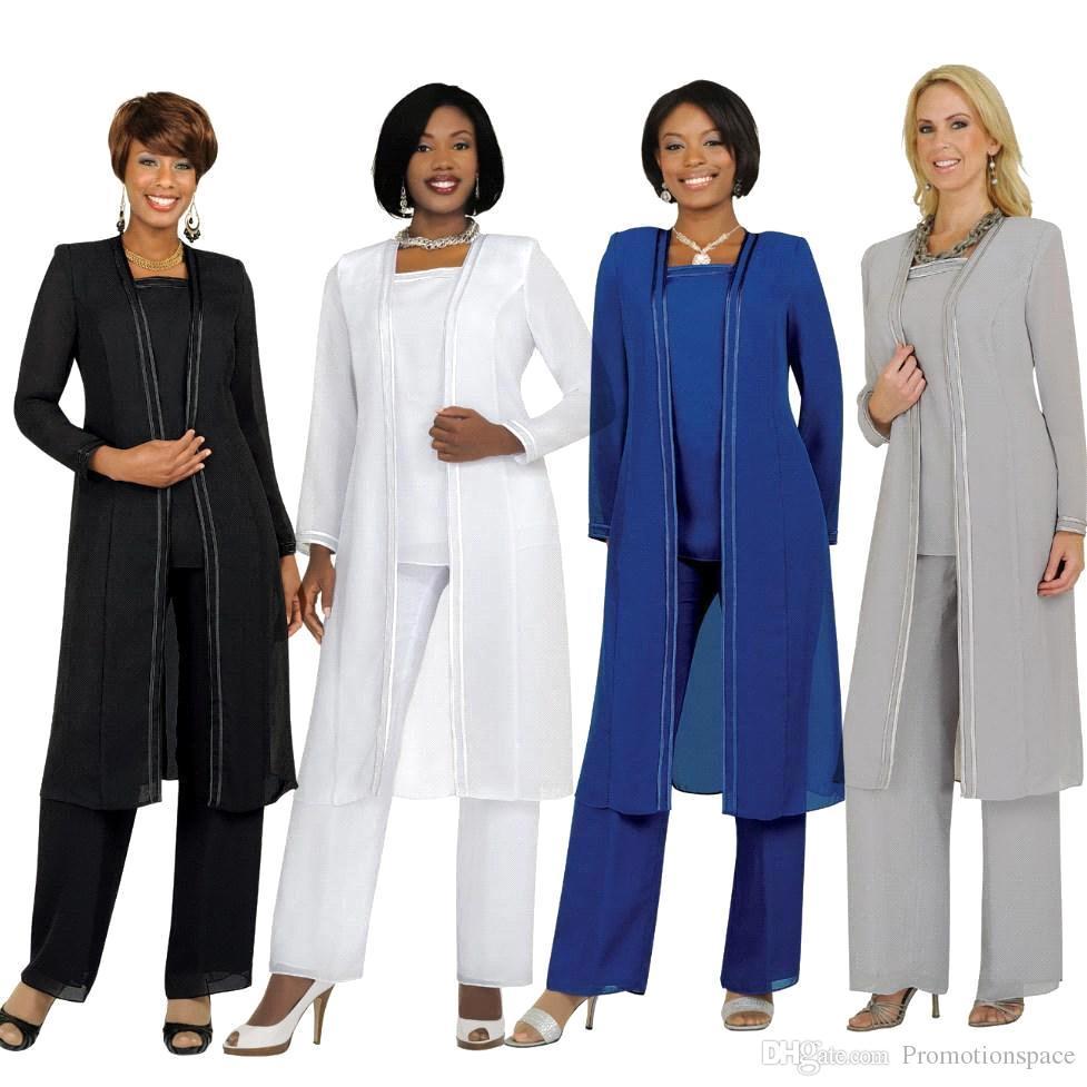 2015 Mutter der Braut Bräutigam Kleider mit Hosenanzüge Lange Ärmel Jacke Mode Sommer Benutzerdefinierte Mutter Kleider Größe 16W Anzüge