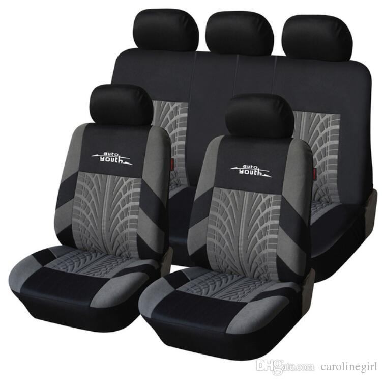 Brand Embroidery Car Seat Covers Set Universal Fit Most Cars Covers with Tire Track Detail Styling Car Seat Protector Free Shipping