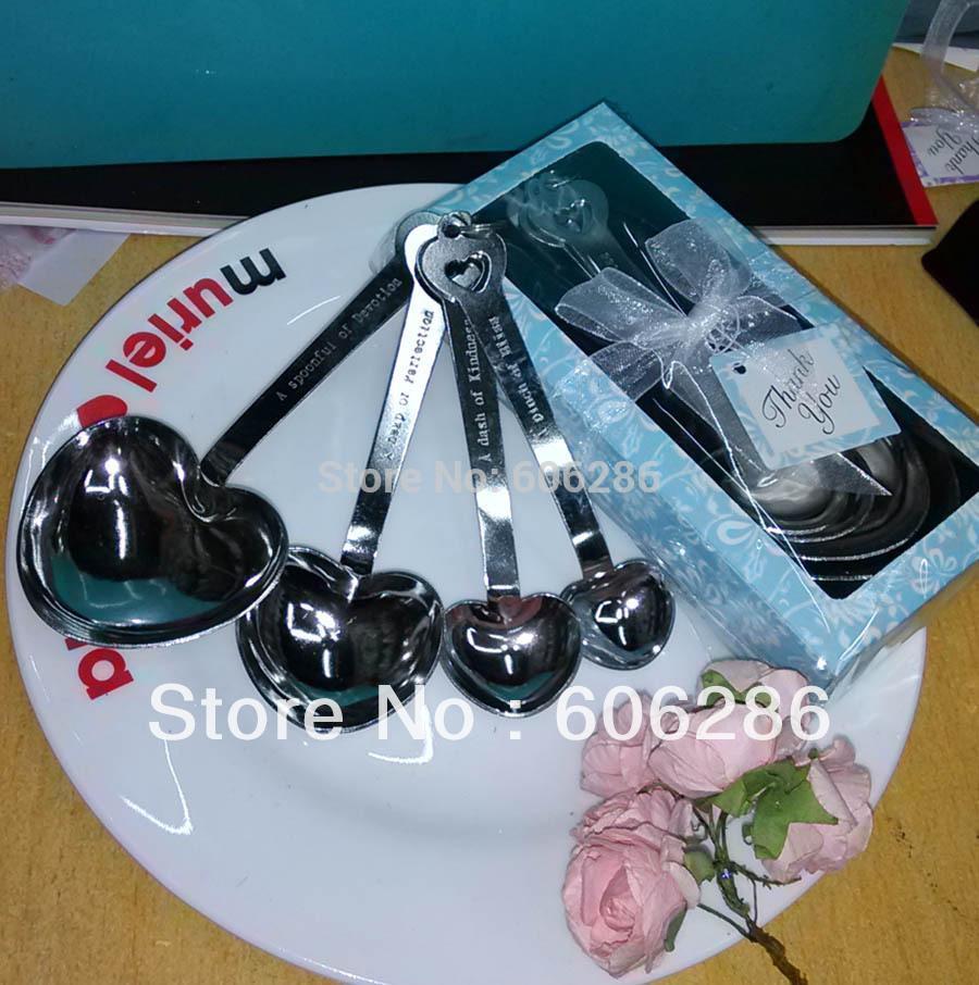 Livraison gratuite 200sets / lot décoration de table de mariage amour au-delà de mesure coeur cuillères à mesurer en cadeau boîte bleue faveurs de fête