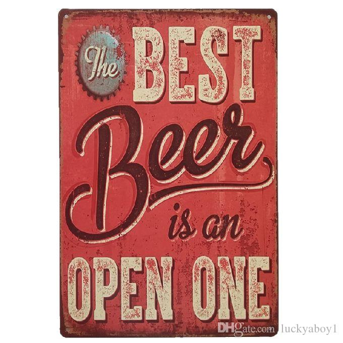 The best beer is an open one Vintage Home Decor Retro Tin Sign Rustic Metal Plaque Cool Metal Plate Metal Poster