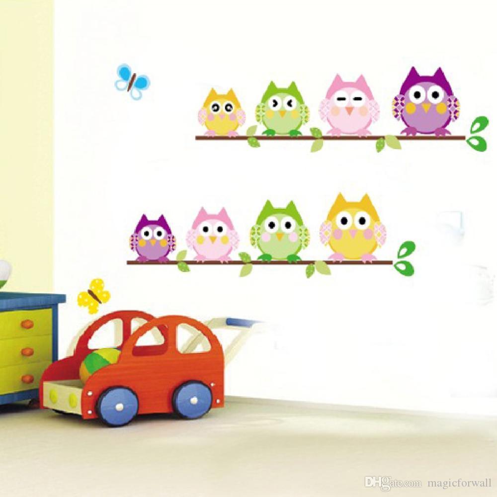 4 PCS par Set Hiboux Oiseau sur Arbre Branche Décalque Autocollant Bande Dessinée Hiboux Mur Art Affiche Murale pour Enfants Bébé Teens Chambre Décoration Décor Deux Designs