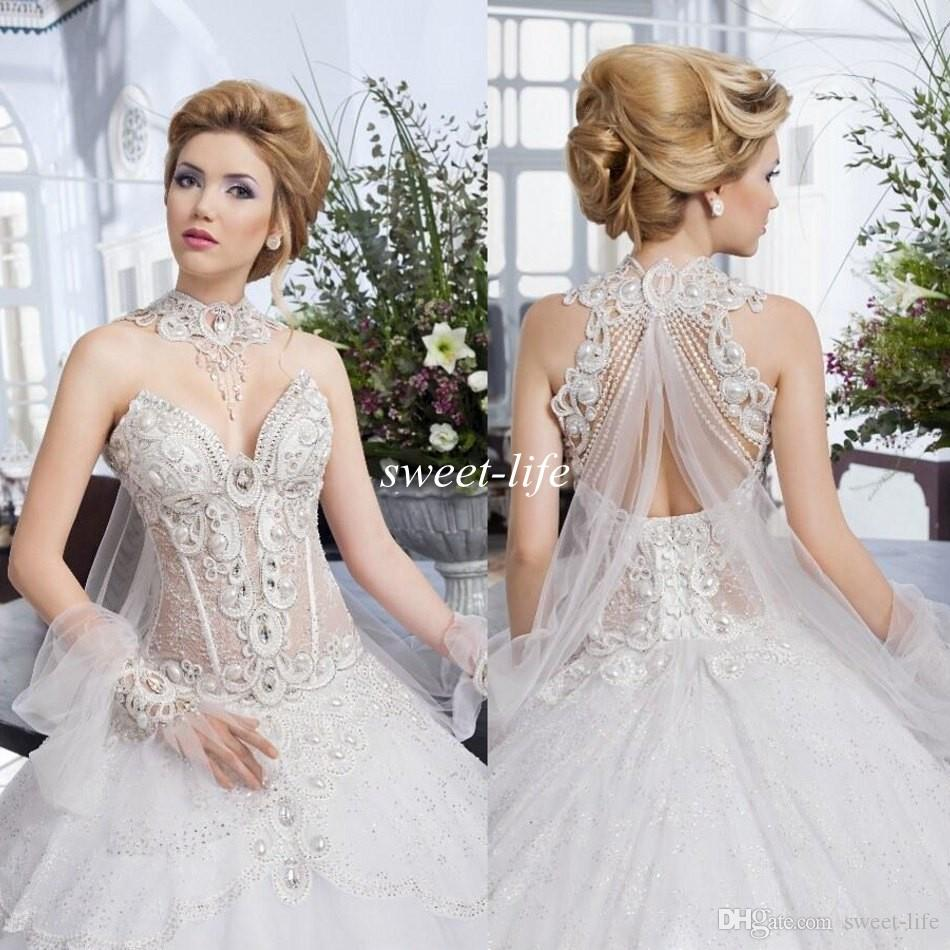 Salon Mona 2019 Vintage Ball Gown Bride Dresses See Through Pearls Beading Lace Backless Sweetheart Beading Collar Bridal Wedding Gowns Gowns Wedding