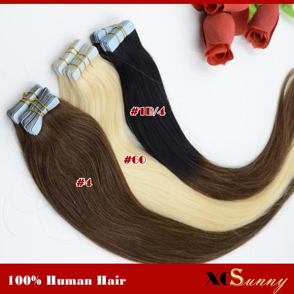 XCSUNNY Estensioni brasiliane dei capelli del nastro dei capelli umani di Remy del brasiliano Estensioni economiche dei capelli del nastro Trasporto libero 18