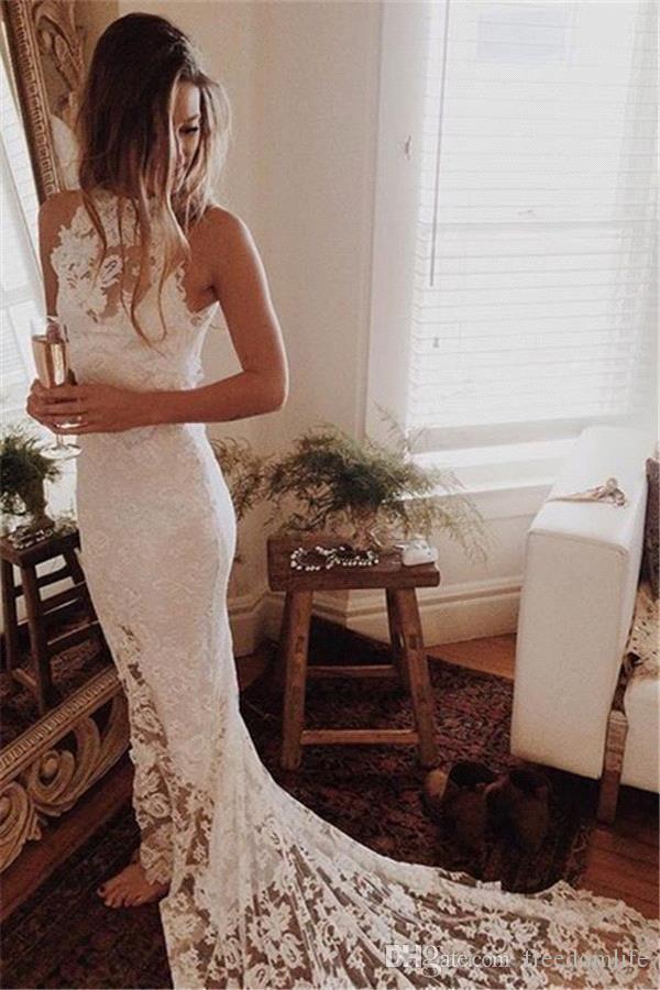 Ivory Full Lace Applique Mermaid Slim Wedding Dresses For Reception Cheap Crew Neck Slit Boho Bridal Gowns