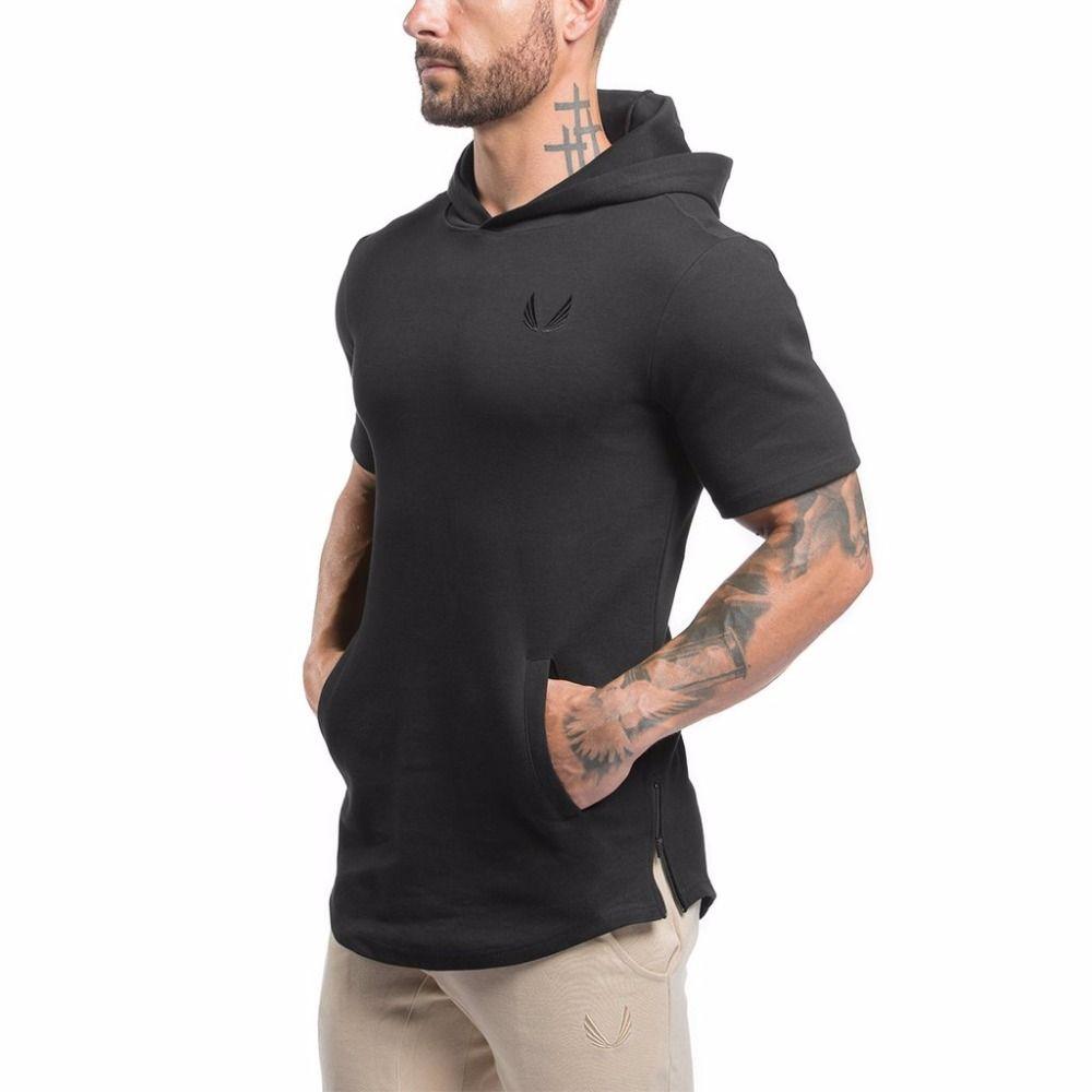 Wholesale- Men Short Sleeve Hoodies Sweatshirt Gyms Bodybuilding Tops Casual Hoody Jacket Outwear Sporting Cotton Hoodies