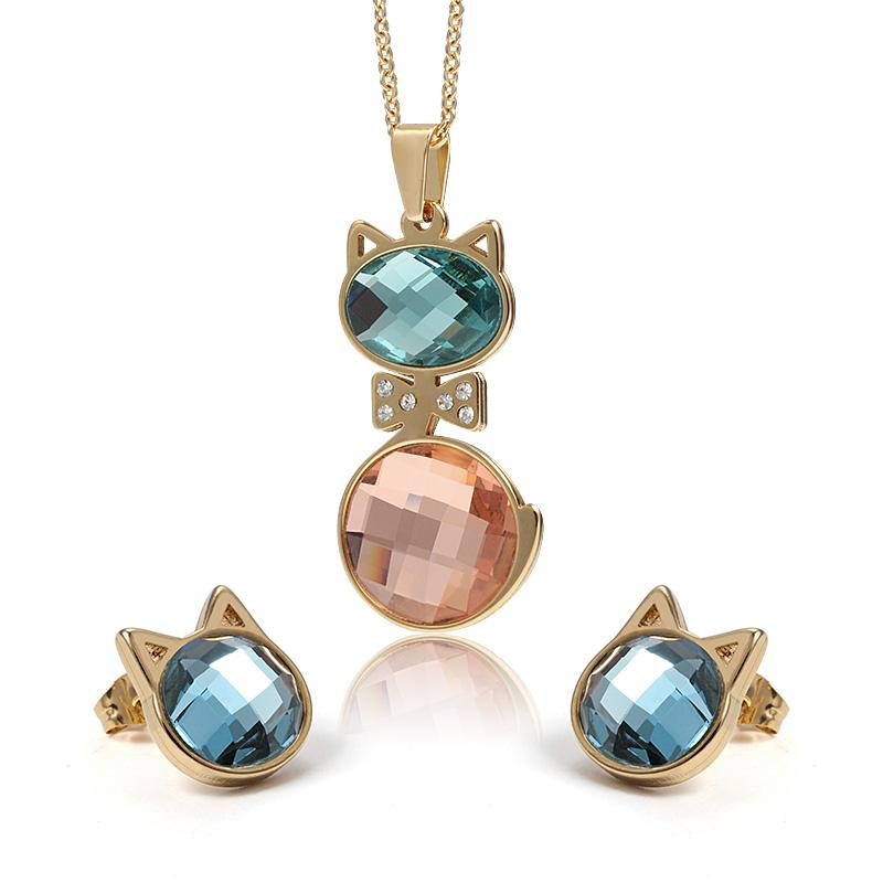 Charming Two Tone Lovely cat Stainless Steel CZ opals stone crystal Necklace Pendant & Earring Jewelry Set Fine Gift For Women